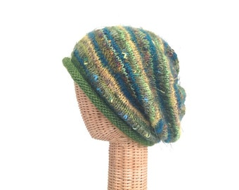 Green Slouchy Hat Women's Rolled Brim Hat  Knitted Wool Hat Mohair Stocking Cap FUSION Yarn Hat One Size Boutique Hat