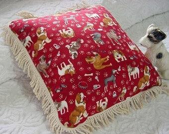 Throw Pillow w/ Dogs -Rope Fringe, Barn Red - Saint Bernard, Bulldog, German Shepherd, Doberman, Bull Mastiff, Rottweiler Paw Prints Gift