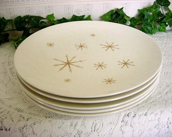 "5 Mid Century Royal China ""Star Glow"" Dinner Plates -Atomic Age Classic Modern Mad Men Star Burst 10"" Plate Lot"