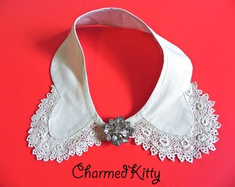 Vintage Antique Collar - Lace Collar Hand Made Lace - Crochet Lace - Tatting Lace