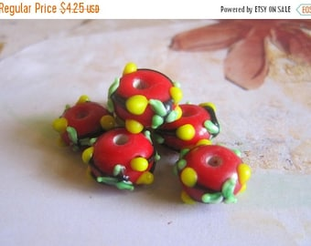 20% OFF ON SALE Red Lampwork Glass Roundelle 14mmx9mm Beads, 6 pcs