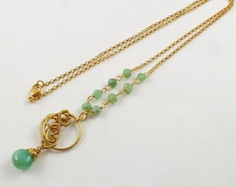 Gold plated necklace, green wire wrapped jewelry, gemstone small pendant, sterling silver jewelry
