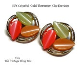50's Gold Thermoset Leaf Earrings in Orange, Apricot and Green Colors Set in Golden Swirl Motif - Vintage 50's Clip Earring Costume Jewelry