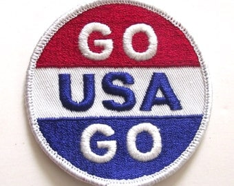 Go USA Go Vintage Embroidered Patch in Red, White and Blue