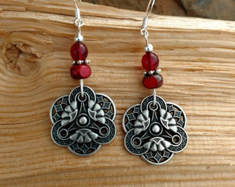 Red Button Earrings, Silver Button Red Sterling Silver Earrings, Red Silver Button Sterling Earrings, Maroon Button Silver Earrings