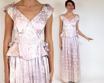 40s Pale Pink Evening Gown | Satin Party Dress | Pink Wedding Dress, Small