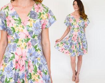 80s Floral Dress | Blue Pink Print Summer Dress, Medium