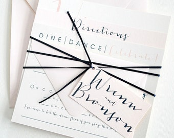 Square Bronson Wedding Invitation Suite with Ribbon Tie and Monogram Tag - Ivory, Blush Pink, Navy Blue (colors/text customizable)