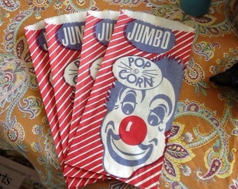 Vintage Jumbo Clown Popcorn Bags Fair Carnival Party Circus Sacks Graphic