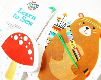 Kids Sewing Kit - Kids Craft Kit - Learn To Sew Kit - Gift Idea - My First Sewing Kit - Tribal Bear and Mushroom DIY