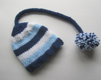 Blue and White Striped Newborn Knit Baby Hat, Baby Stocking Cap, Baby Elf Hat, Striped Baby Hat, Baby Hat, Newborn Baby Hat, Baby Shower