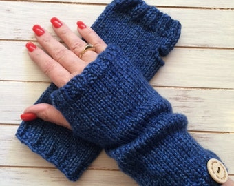 Shower Gift to Stephanie Brown Hand Knit Fingerless Mitts - Perfect for Gift Giving or For Yourself