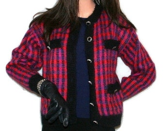 1980s Robinson's Plaid/Striped Mohair Blend Vintage Cardigan Sweater