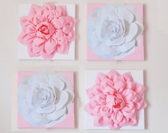 """Nursery Wall Decor -SET OF FOUR Light Pink and White Rose and Dahlia Flower Wall Hangings 12 x12"""" Canvases Flower Wall Art-"""