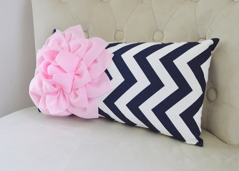 Navy And Pink Decorative Pillows: Chevron Lumbar Pillow Light Pink Dahlia On Navy And By