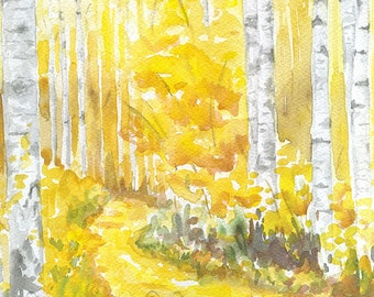Aspen Trees Watercolor Painting - 5x7 - 5.5x7.5 - Autumn Decor - Giclee Print Reproduction