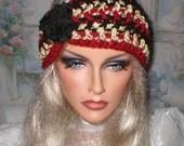 35 % OFF SALE Crochet Women Teens Burgundy Sparkle Khaki Black Shabby Rose Head Wrap Turban Ear Warmer
