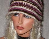 35 % OFF SALE Crochet Women Off White Mauve Chenille Dark Chocolate 1920's Cloche Flapper Hat