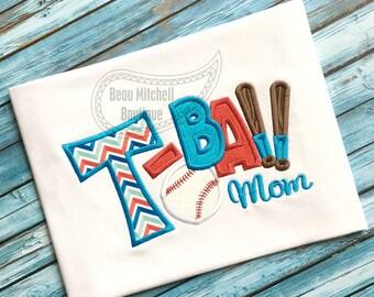 T-ball mom baseball applique with bats