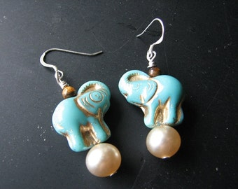 Blue elephant | pearl earrings | tigers eye stone | dangle | sterling silver | circus