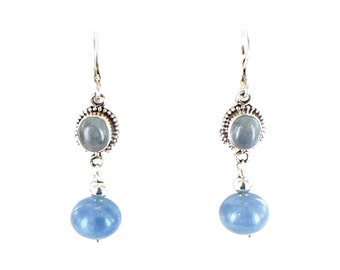 Aquamarine Earrings Sterling Round 10mm