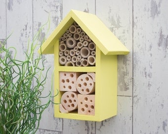 Insect House, Bee Hotel, Wildlife Habitat in 'Dazzling Yellow'. Can be personalised.