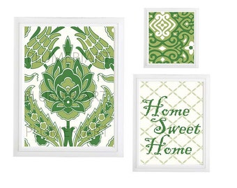 Collage Wall Art Gallery - Set of (3) Green Cream Navy Blue Floral wall art- Modern gallery prints- Made in USA  colors can be changed
