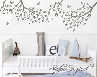 Nursery Wall Decal Tree Wall Decal Kids Wall Decal Wall Decals Nursery Wall Decals For Girls and Boys Gray Whimsical Branches With Birds