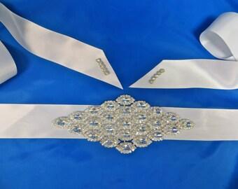 Rhinestone Bridal Sash, Wedding Gown Accessory,Crystal Sash,  Bridal Party Belt