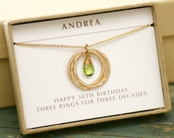 30th birthday gift for daughter, gold peridot necklace, August birthstone jewelry for sister- Lilia