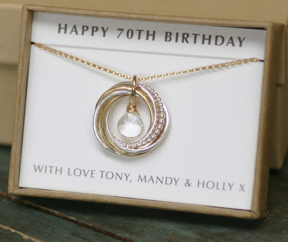 70th Birthday Gift For Her April Birthstone Necklace For Mom