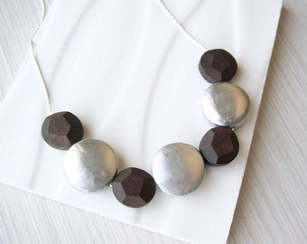 Modern Necklace - Wood Jewelry, 5th Anniversary, 10th Wedding Aluminum Gift, Dark Brown, Faceted, Geometric, Silver