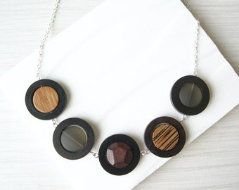 Modern Wood Bib Necklace, 5th Anniversary Gift, Geometric, Recycled Glass, Brown Grey Ebony, Nickel Free Sterling Silver, Walnut, Rosewood