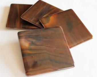 GLASS DRINK COASTERS - Pure Chocolate Coaster Set, Brown Coasters for Drinks, Chocolate Lover Gift, Fused Glass Coasters, Set of 4 Coasters
