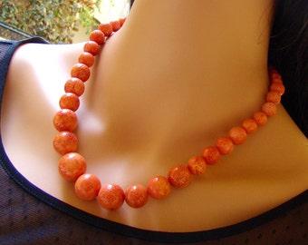 Orange Coral Necklace. Descended necklace. Gift for her