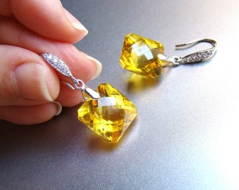 Luxury Citrine Pave Sterling Silver Earrings. November Birthstone