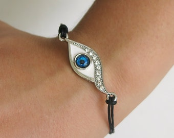 silver bracelet, evil eye, evil eye bracelet, evil eye jewelry, stackable bracelet, evil eye charm, dainty bracelet, friendship bracelet