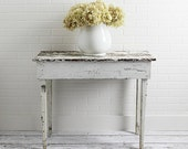 Vintage Cottage Chic Farmhouse Table in Chippy Old White Paint