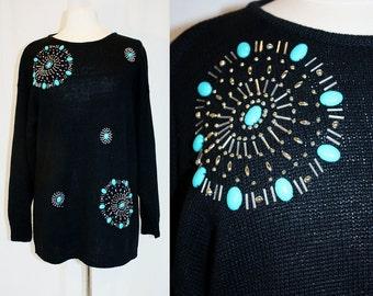 1990's Southwestern Black Sweater Fuax Turquoise and Silver Beads Embellished Large Vintage Retro 90s Ramie Cotton Boho Western