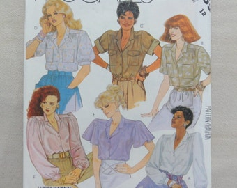1987 Blouse Pattern, Buttoned Blouse, Butterfly Sleeves, Top, Shirt -UNCUT Vintage 80s McCall's Sewing Pattern 2955- Size 12 Bust 34