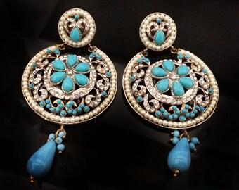 Turquoise Chandelier Earring Long Earrings Bridal Jewelry,Wedding Earrings Blue Crystal Prom Earrings, Indian Jewellery by TANEESI
