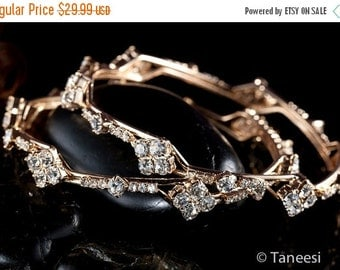CLEARANCE SALE Vintage Gold Bangles , Stacking Bangles, Bangle Bracelet, White Crystal Bangles Pair, Victorian Jewelry from 1980's by TANEES
