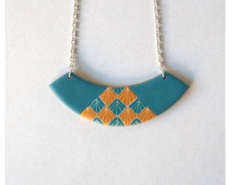 Geometry collection . Symmetry necklace ocher and blue