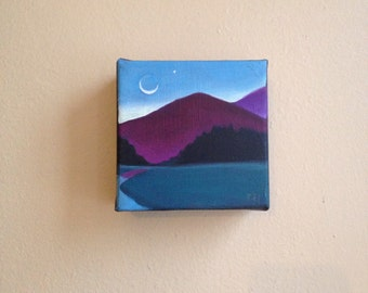 The River and the Sliver Moon, Original Rural Painting