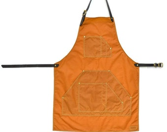 Handmade Tan Oilskin & Brown Vegetable Tanned Leather Workwear Apron