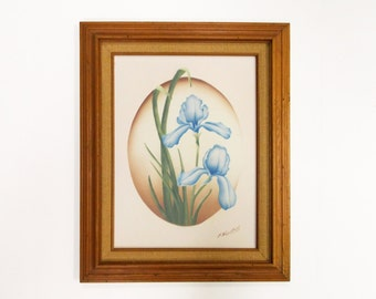 Vintage Framed Floral Painting--- J. Kendall Airbrush Art on Canvas