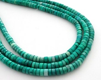 """Green Heishi Disc Beads - Gemstone Disk Round Beads - Small Center Drilled - 16"""" - 4mmx2mm - DIY Jewelry Projects - Natural Spacer Beads"""