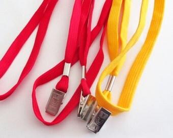 Fabric Lanyard - ID Badge Holder - Heavy Duty Lanyard - Yellow Red / Silver Clip - RN Teacher Sports - Sewing Needlecraft Supplies - 12 Pcs