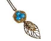 Boho Jewelry, Long Robins Birds Nest Necklace Pendant In Brass With Leaves, Woodland