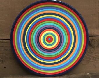 Set of 4 - Colorful Rainbow Stripe Ceramic Cereal, Soup or Ice Cream Bowls - Dark Navy Blue Rim